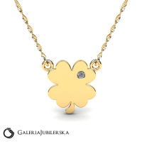 Gold necklace with engravable clover