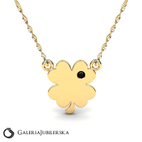 Gold necklace with engravable clover (1)