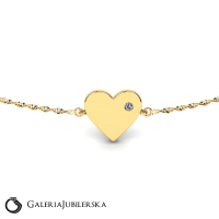 Engravable gold bracelet with heart and zirconia
