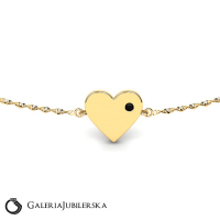 Engravable gold bracelet with heart and zirconia  (1)