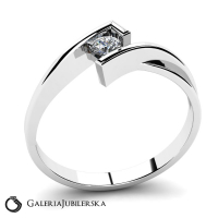 8k white gold ring with zirconia