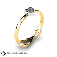 8k gold two sided ring heart and infinity
