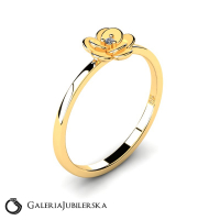 8k gold flower ring with zirconia