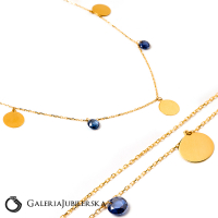 14k gold choker necklace with blue beads