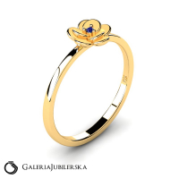 8k yellow gold flower ring with zirconia