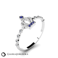 14k gold crown ring with sapphires and diamonds