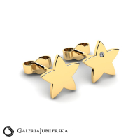 Gold star earrings with zirconia to engrave