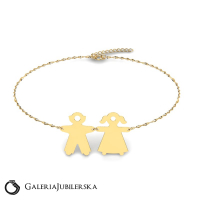 Gold boy and girl bracelet to engrave