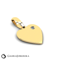 Gold heart pendant with zirconia