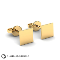 Yellow gold squares earrings for a gift
