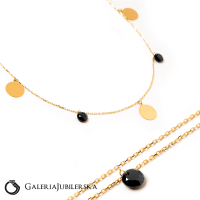14k gold choker necklace with black beads
